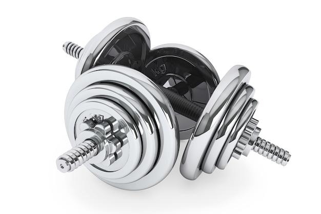 Peso di manubri di attrezzature per esercizi di fitness su sfondo bianco