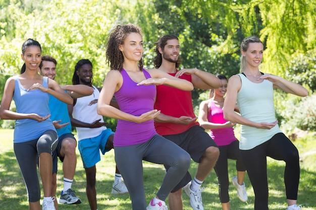 Gruppo di forma fisica che fa tai chi nel parco