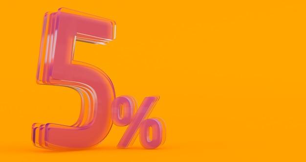 Cinque (5) per cento in vetro, numero di vetro 3d su sfondo colorato banner, rendering 3d