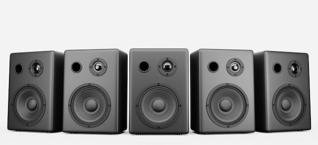 Cinque altoparlanti musicali neri in fila su sfondo bianco. altoparlanti per musica da concerto per il tuo design. rendering 3d.