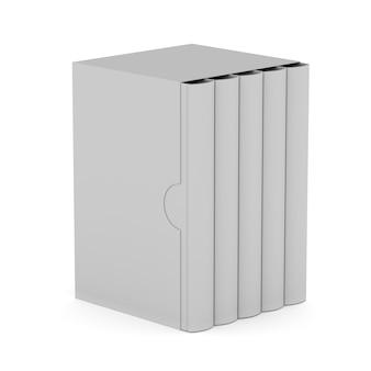 Cinque libri con copertina scatola vuota su sfondo bianco. illustrazione 3d isolata