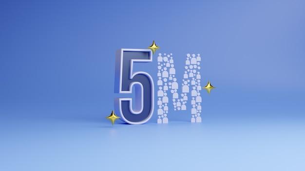 Banner da cinque milioni di follower grazie follower modello di rendering 3d con numero di 5 mm