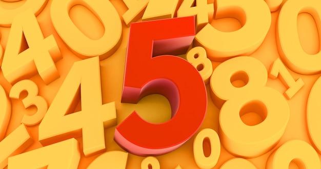 Cinque numeri rossi al centro. raccolta di numeri rossi 3d - 5