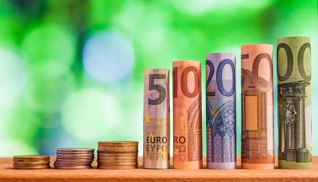 Cinque, dieci, venti, cinquanta e cento euro banconote arrotolate fatture, con monete in euro su sfondo sfocato verde bokeh.