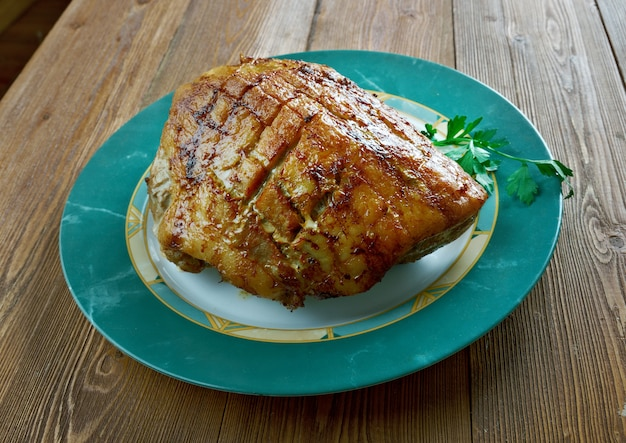 Flaeskesteg danish roast pork with crackling for christmas