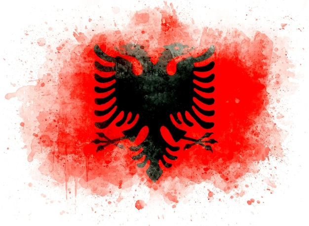 Bandiera dell'albania, illustrazione dell'acquerello