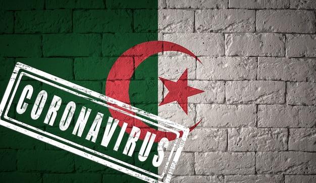 Bandiera dell'algeria con proporzioni originali timbrata di coronavirus. struttura del muro di mattoni. concetto di virus corona. sull'orlo di una pandemia di covid-19 o 2019-ncov.