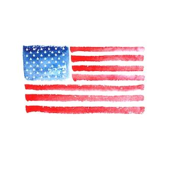 Acquerello disegnato a mano della bandiera dell'america usa su fondo bianco
