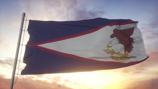 Bandiera delle samoa americane che fluttua nel vento, cielo e sole sullo sfondo. rendering 3d.