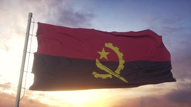 Bandiera dell'angola che fluttua nel vento, cielo e sole sullo sfondo. rendering 3d.