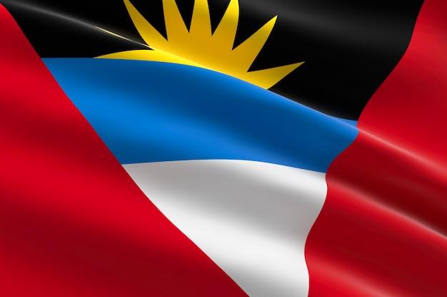 Bandiera di antigua e barbuda 3d illustrazione della bandiera antigua sventolando