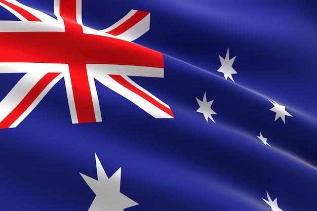 Bandiera dell'australia 3d illustrazione della bandiera australiana sventolando