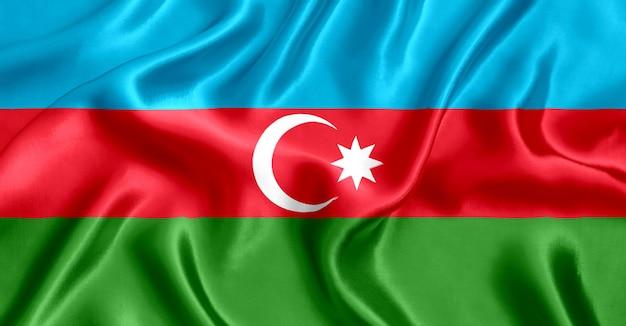 Bandiera della priorità bassa del primo piano di seta dell'azerbaigian