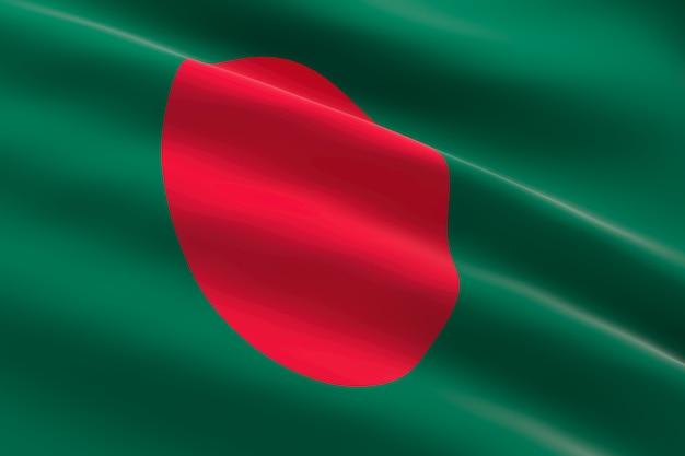 Bandiera del bangladesh 3d illustrazione della bandiera del bangladesh sventolando