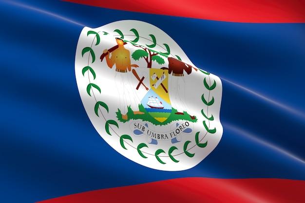 Bandiera del belize 3d illustrazione della bandiera belizean sventolare