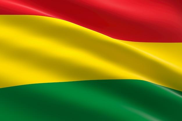 Bandiera della bolivia 3d illustrazione della bandiera boliviana sventolando