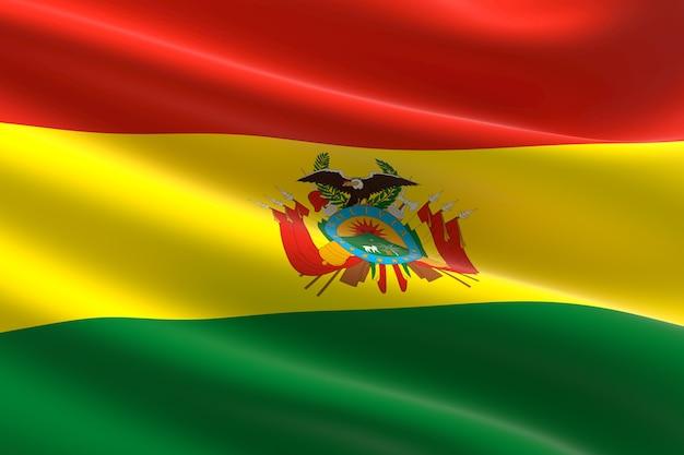 Bandiera della bolivia. illustrazione 3d dell'ondeggiamento della bandiera boliviana.