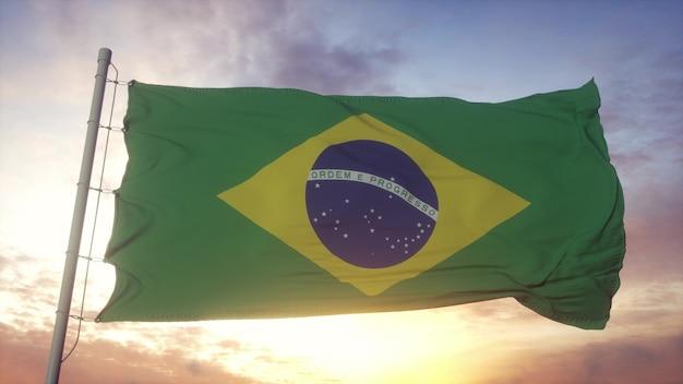 Bandiera del brasile che fluttua nel vento contro il bel cielo profondo. rendering 3d.