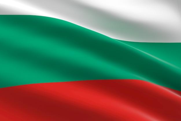 Bandiera della bulgaria 3d illustrazione della bandiera bulgara sventolando