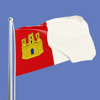 Bandiera di castilla la mancha in spagna sul pennone che fluttua nel vento isolato sul cielo blu sullo sfondo