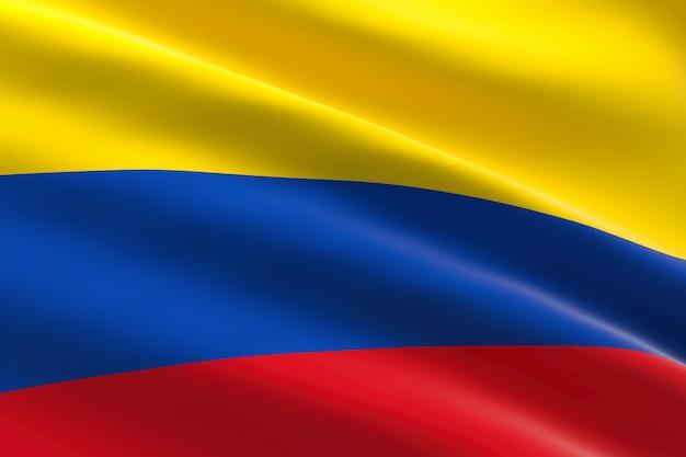 Bandiera della colombia. 3d illustrazione della bandiera colombiana sventolando