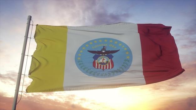 Bandiera di columbus, città dell'ohio che fluttua nel vento, nel cielo e nello sfondo del sole. rendering 3d