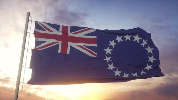 Bandiera delle isole cook che fluttua nel vento, cielo e sole sullo sfondo. rendering 3d.