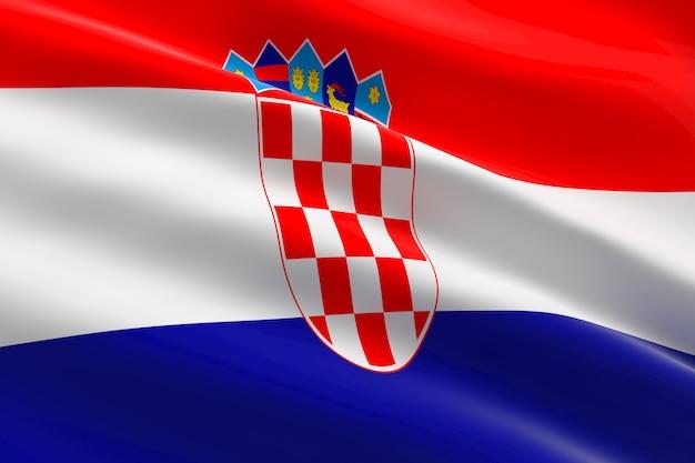 Bandiera della croazia. 3d illustrazione della bandiera croata sventolando