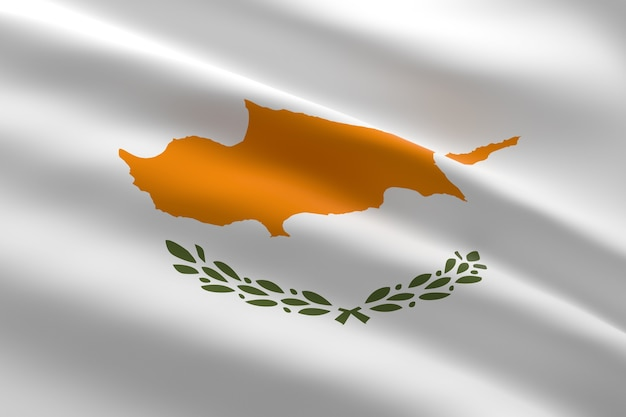 Bandiera di cipro. 3d illustrazione della bandiera cipriota sventolando