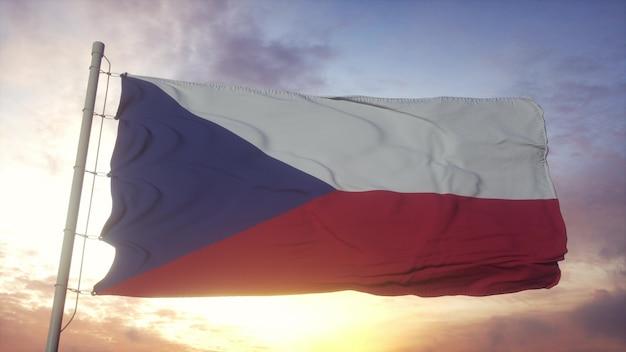 Bandiera della repubblica ceca che fluttua nel vento contro il bel cielo profondo. rendering 3d.