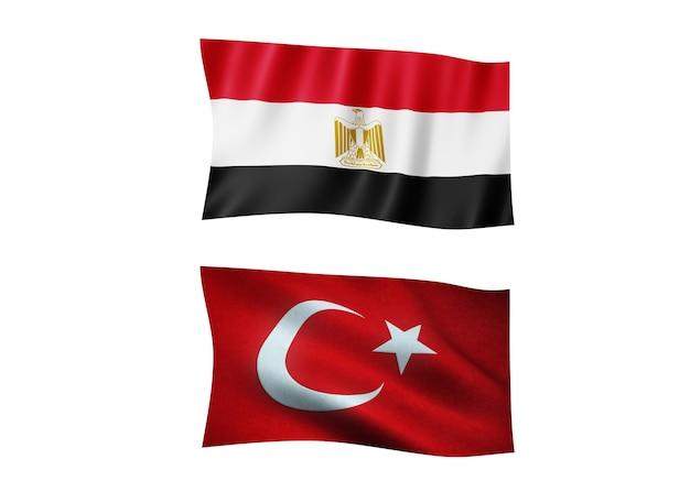 La bandiera dell'egitto e la bandiera della turchia su sfondo bianco