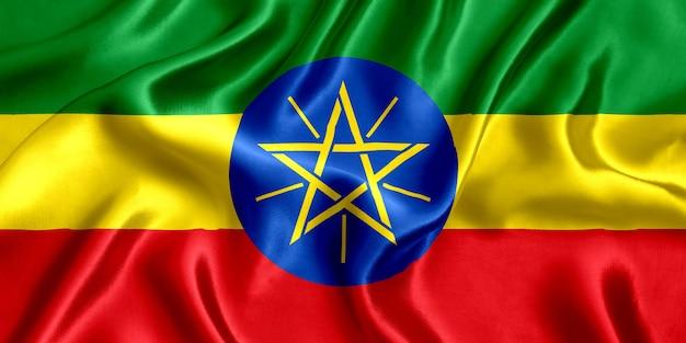 Priorità bassa del primo piano di seta della bandiera dell'etiopia