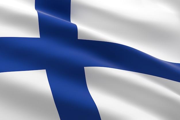 Bandiera della finlandia. 3d illustrazione della bandiera finlandese sventolando
