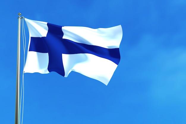 Bandiera della finlandia sulla rappresentazione del fondo 3d del cielo blu