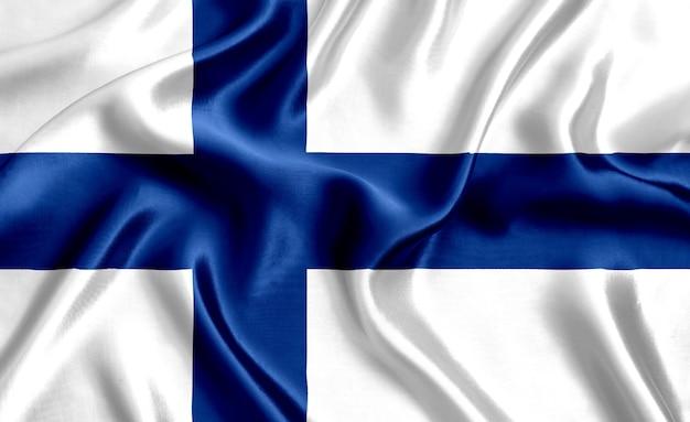 Priorità bassa del primo piano di seta della bandiera della finlandia