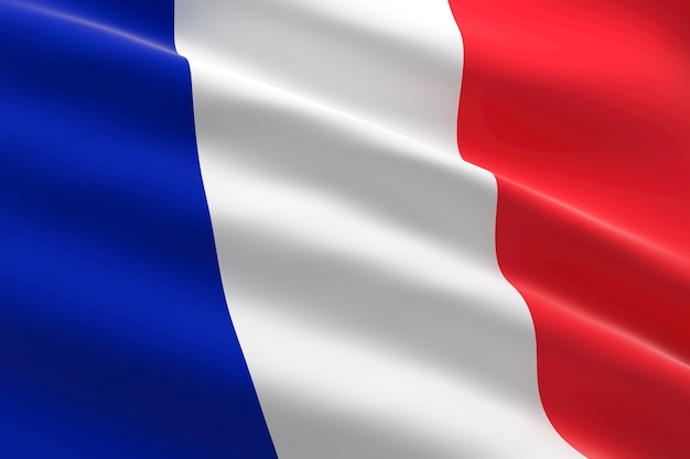 Bandiera della francia. 3d illustrazione della bandiera francese sventolare