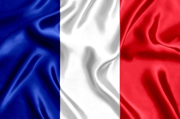 Priorità bassa del primo piano di seta della bandiera della francia