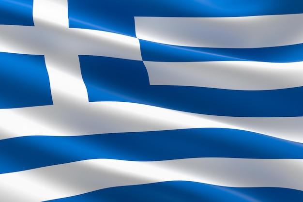 Bandiera della grecia. illustrazione 3d dell'ondeggiamento della bandiera greca.