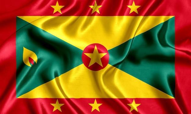 Bandiera di grenada seta sfondo close-up