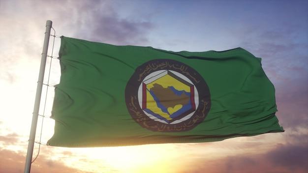 Bandiera del consiglio di cooperazione del golfo che sventola sullo sfondo del vento, del cielo e del sole. rendering 3d.