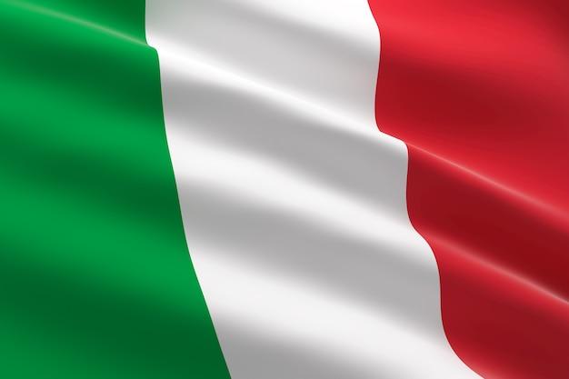 Bandiera d'italia. 3d illustrazione della bandiera italiana sventolare