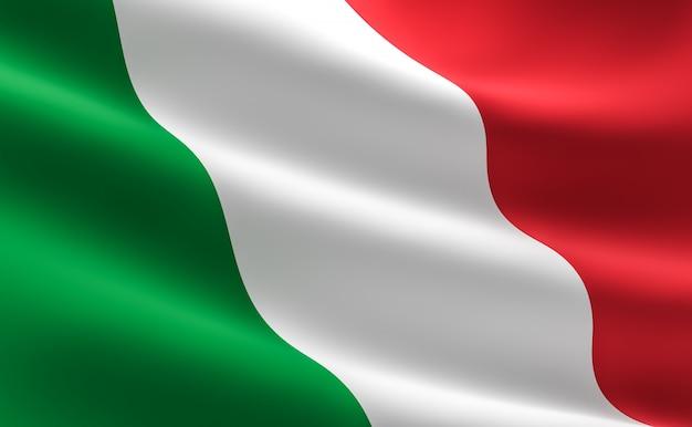 Bandiera italiana. illustrazione 3d della bandiera italiana agitando.