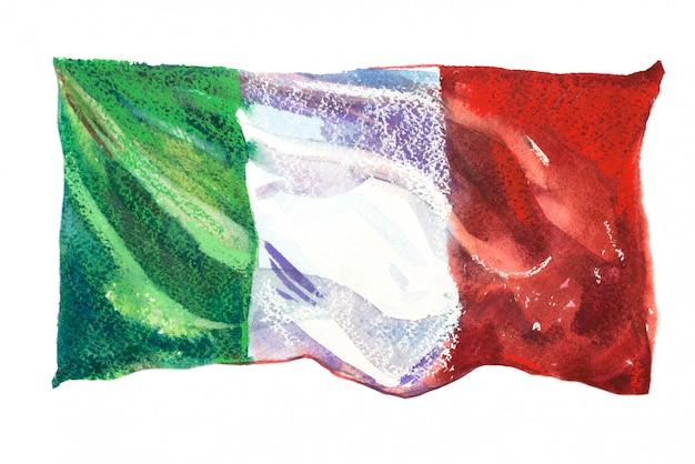 Bandierina dell'italia verniciata in acquerelli