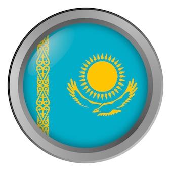 Bandiera del kazakistan rotonda come un pulsante