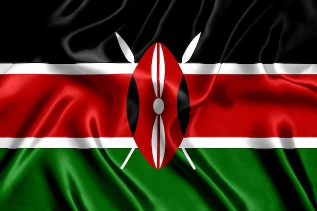 Bandiera del kenya sfondo di seta close-up