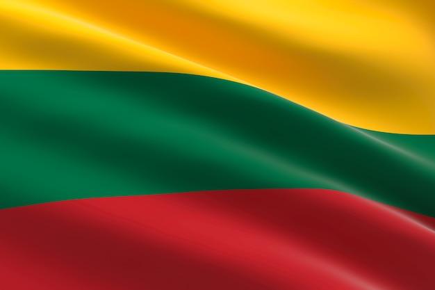 Bandiera della lituania. 3d illustrazione della bandiera lituana sventolando