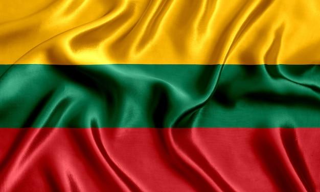 Priorità bassa del primo piano di seta della bandiera della lituania
