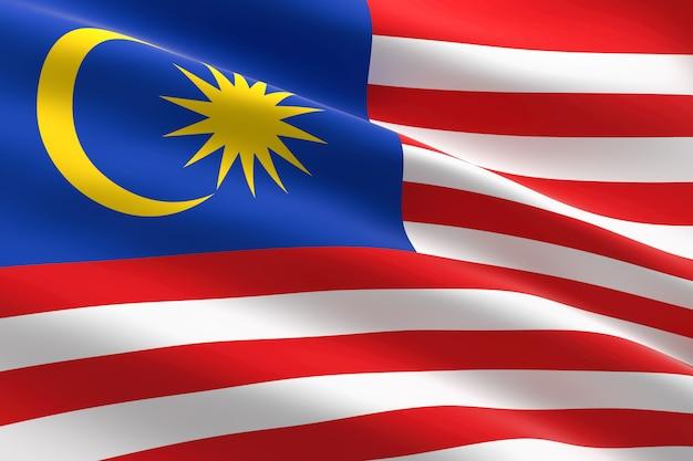 Bandiera della malesia. 3d illustrazione della bandiera malese sventolando