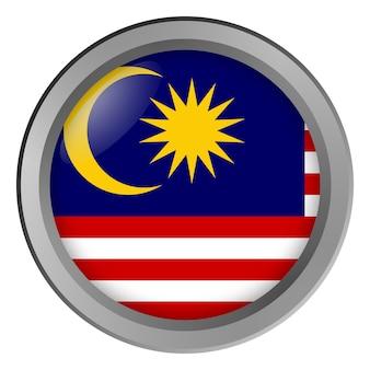 Bandiera della malesia rotonda come un pulsante
