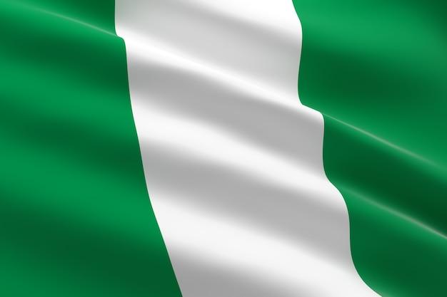 Bandiera della nigeria. 3d illustrazione della bandiera nigeriana sventolando